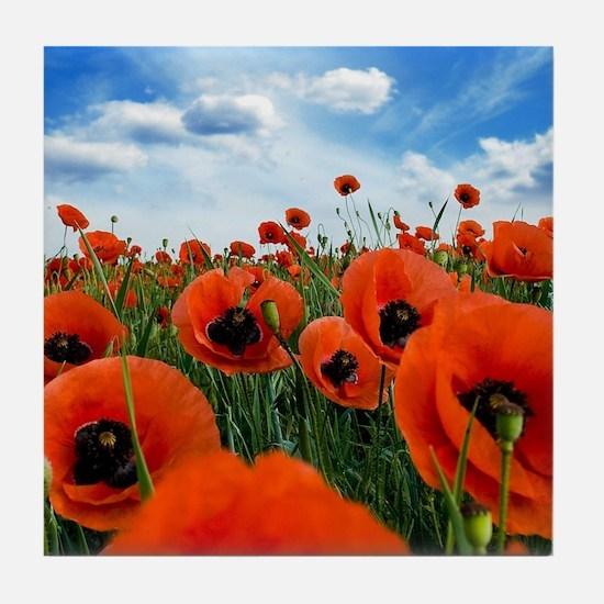 Poppy Flowers Field Tile Coaster