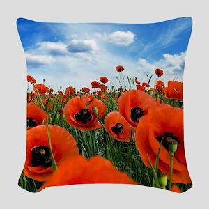 Poppy Flowers Field Woven Throw Pillow