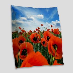 Poppy Flowers Field Burlap Throw Pillow