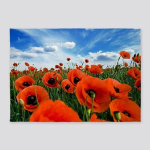 Poppy Flowers Field 5'x7'Area Rug