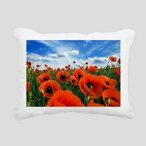 Poppy Flowers Field Rectangular Canvas Pillow