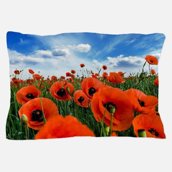 Poppy Flowers Field Pillow Case