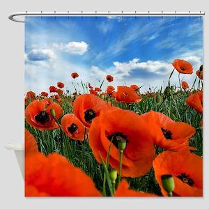 Poppy Flowers Field Shower Curtain