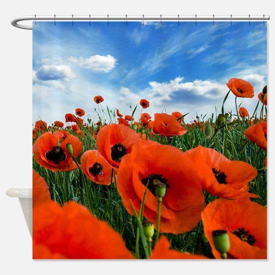 Poppy Flowers Field Shower Curtain