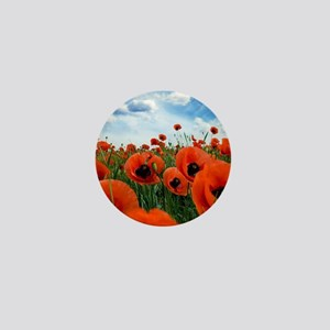 Poppy Flowers Field Mini Button