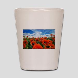 Poppy Flowers Field Shot Glass