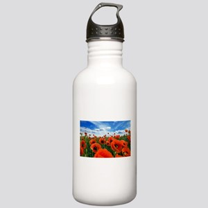 Poppy Flowers Field Water Bottle