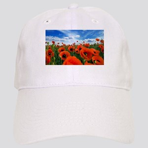 Poppy Flowers Field Baseball Cap