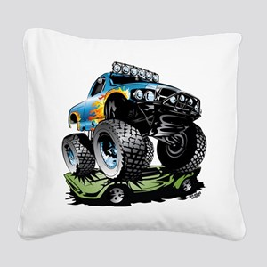 Monster Race Truck Crush Square Canvas Pillow