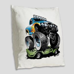 Monster Race Truck Crush Burlap Throw Pillow
