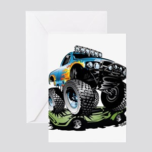 Monster Race Truck Crush Greeting Cards