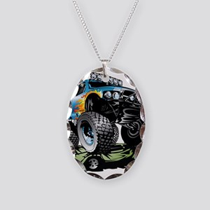 Monster Race Truck Crush Necklace Oval Charm