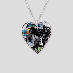Monster Race Truck Crush Necklace Heart Charm