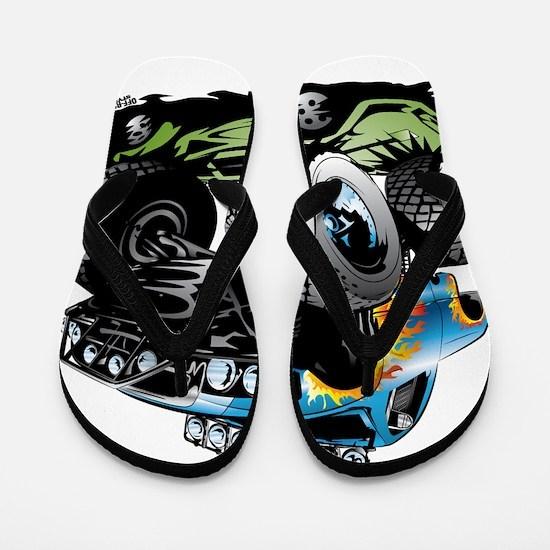 Monster Race Truck Crush Flip Flops