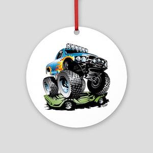 Monster Race Truck Crush Round Ornament