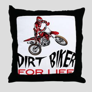 Motocross Biker For Life Throw Pillow