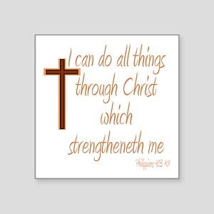 Philippians 4 13 Brown Cross Sticker