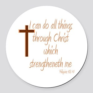 Philippians 4 13 Brown Cross Round Car Magnet