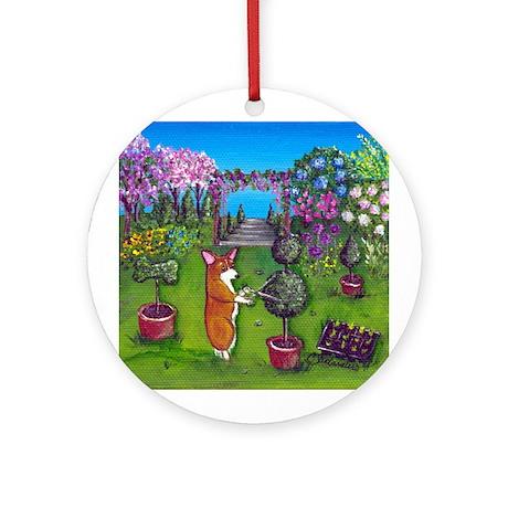 Corgi Master Gardener Ornament (Round)