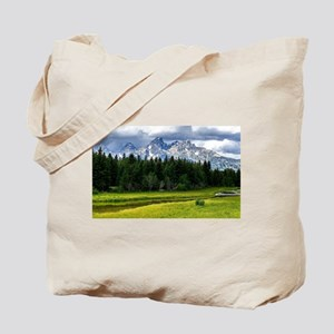 Mountains,River and Forest Landscape Tote Bag
