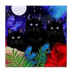 BLACK CATS MOON Tile Coaster