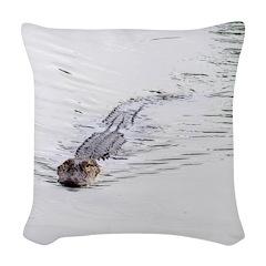 Brandon FL Pond Alligator Woven Throw Pillow