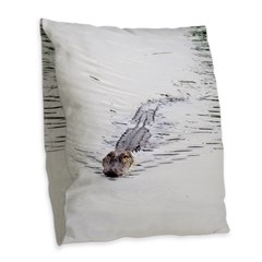 Brandon FL Pond Alligator Burlap Throw Pillow