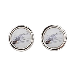 Brandon FL Pond Alligator Round Cufflinks