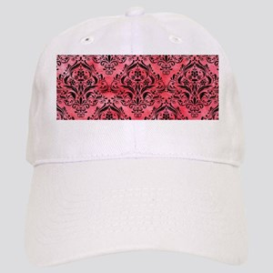 DAMASK1 BLACK MARBLE & RED WATERCOLOR Cap