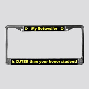 Honor Student Rottweiler License Plate Frame