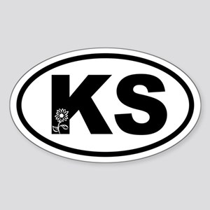 Kansas Sunflower Oval Sticker