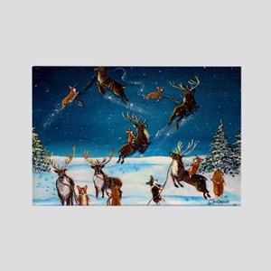 Flying Lessons Corgis & Reind Rectangle Magnet