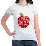 I Support Teachers Jr. Ringer T-Shirt