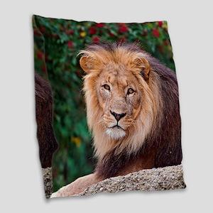 Lion Burlap Throw Pillow
