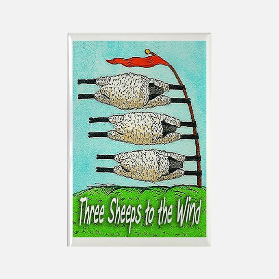 Three Sheeps to the Wind Rectangle Magnet