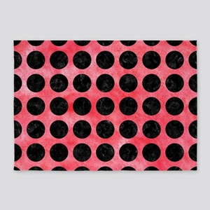 CIRCLES1 BLACK MARBLE & RED WATERCO 5'x7'Area Rug