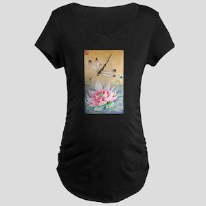 Lotus Dragonfly Zen Art Maternity T-Shirt
