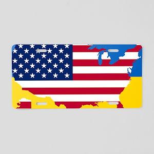 Ukrainian-American Aluminum License Plate