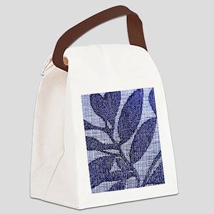 Blue Textile Leaves Canvas Lunch Bag
