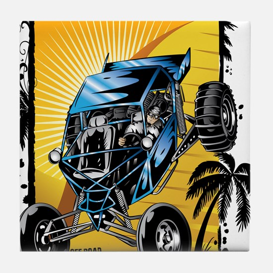 Blue Dune Buggy Tile Coaster