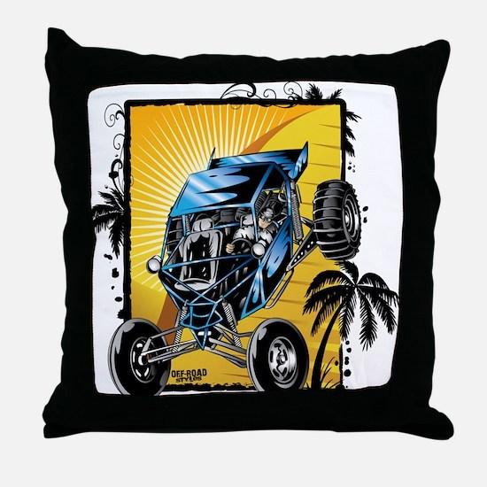 Blue Dune Buggy Throw Pillow