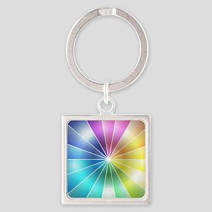 Rainbow Glass Square Keychain