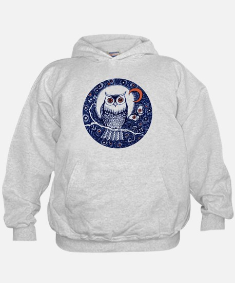 Blue Owl with Moon Hoodie
