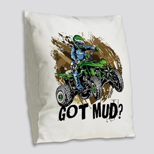 Got Mud ATV Quad Burlap Throw Pillow