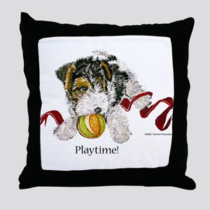Fox Terrier Puppy Throw Pillow