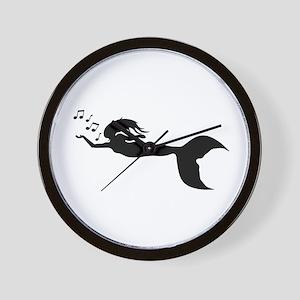 mermaid and music notes Wall Clock