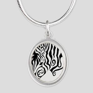ZEBRA!! Silver Oval Necklace