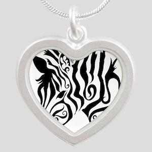 ZEBRA!! Silver Heart Necklace