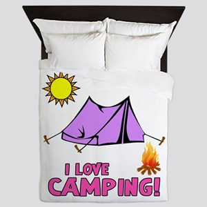 I Love Camping-3-Pink Queen Duvet