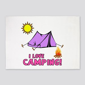 I Love Camping-3-Pink 5'x7'area Rug